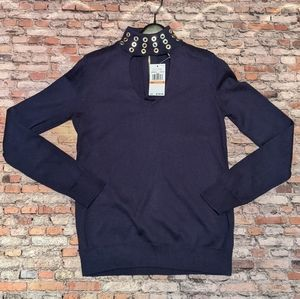 Michael Kors Navy and Gold Sweater Size S